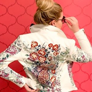 Embroidered White Leather Jacket